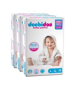 Doobidoo Baby Pants - Large Size Diapers (144 Count) - All Round Softness with Bubble soft topsheet and anti leak side cuffs (9-14 kgs)