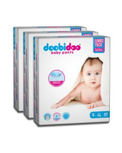 Doobidoo Baby Pants - Small Size Diapers (180 Count) - All Round Softness with Bubble soft topsheet and anti leak side cuffs (4-8 kgs)