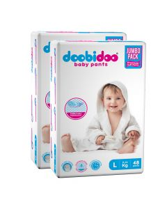 Doobidoo Baby Pants - Large Size Diapers (96 Count) - All Round Softness with Bubble soft topsheet and anti leak side cuffs (9-14 kgs)