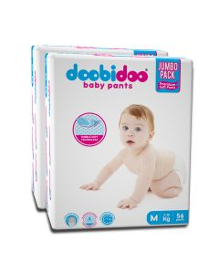 Doobidoo Baby Pants - Medium Size Diapers (112 Count) - All Round Softness with Bubble soft topsheet and anti leak side cuffs (7-12 kgs)
